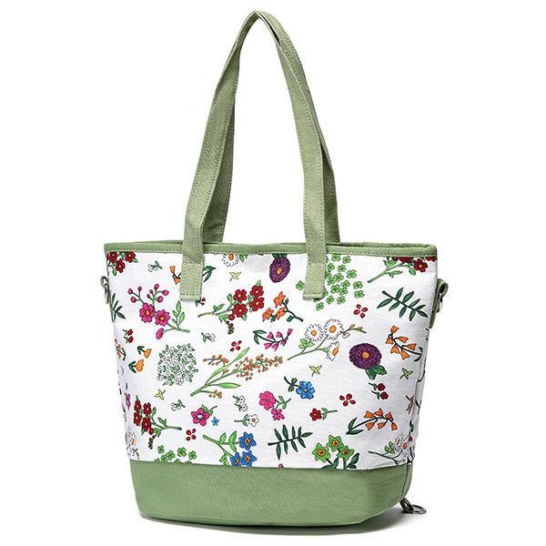 Women Canvas Floral Tote Bags Casual Shoulder Beach Bags Multifunction Backpack Crossbody Bags