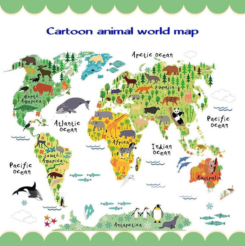 Chambre Enfants Décoration Grande Carte du Monde Colorée Paroi Amovible Autocollant DIY