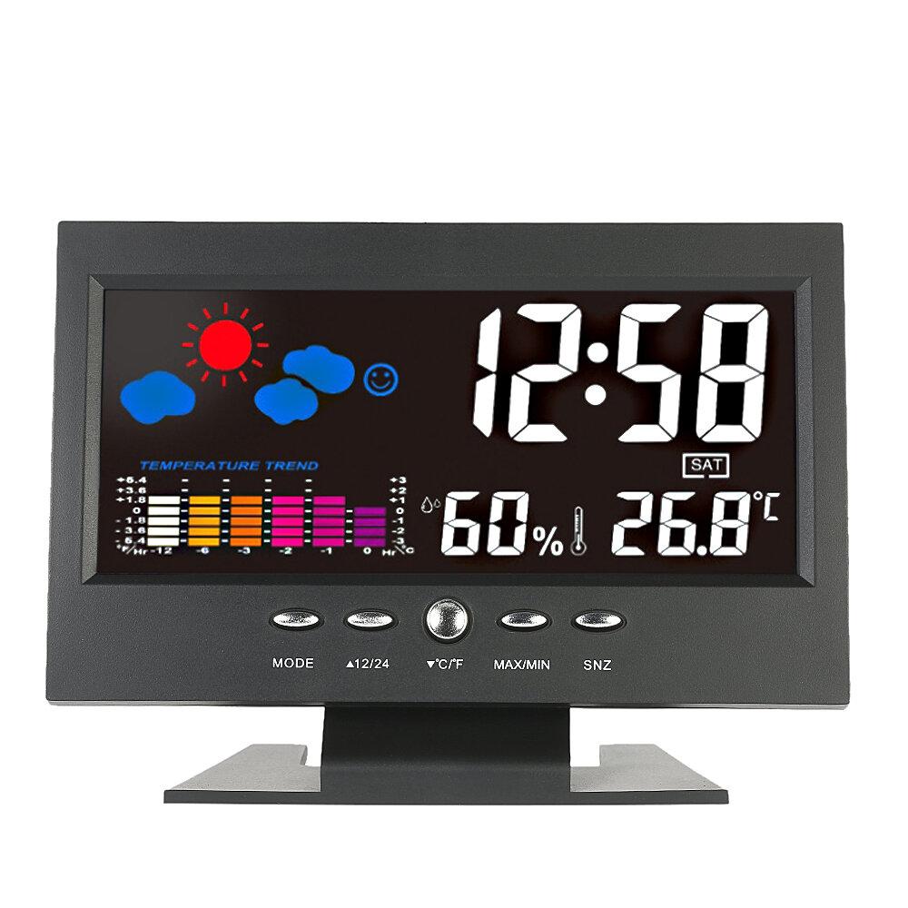 Loskii DC-000 Sem Fio Digital Colorful Tela USB Retroiluminado Estação Meteorológica Termômetro Higrômetro Alarme Relógio Calendário Medidor de Temperatura Vioce-Ativado