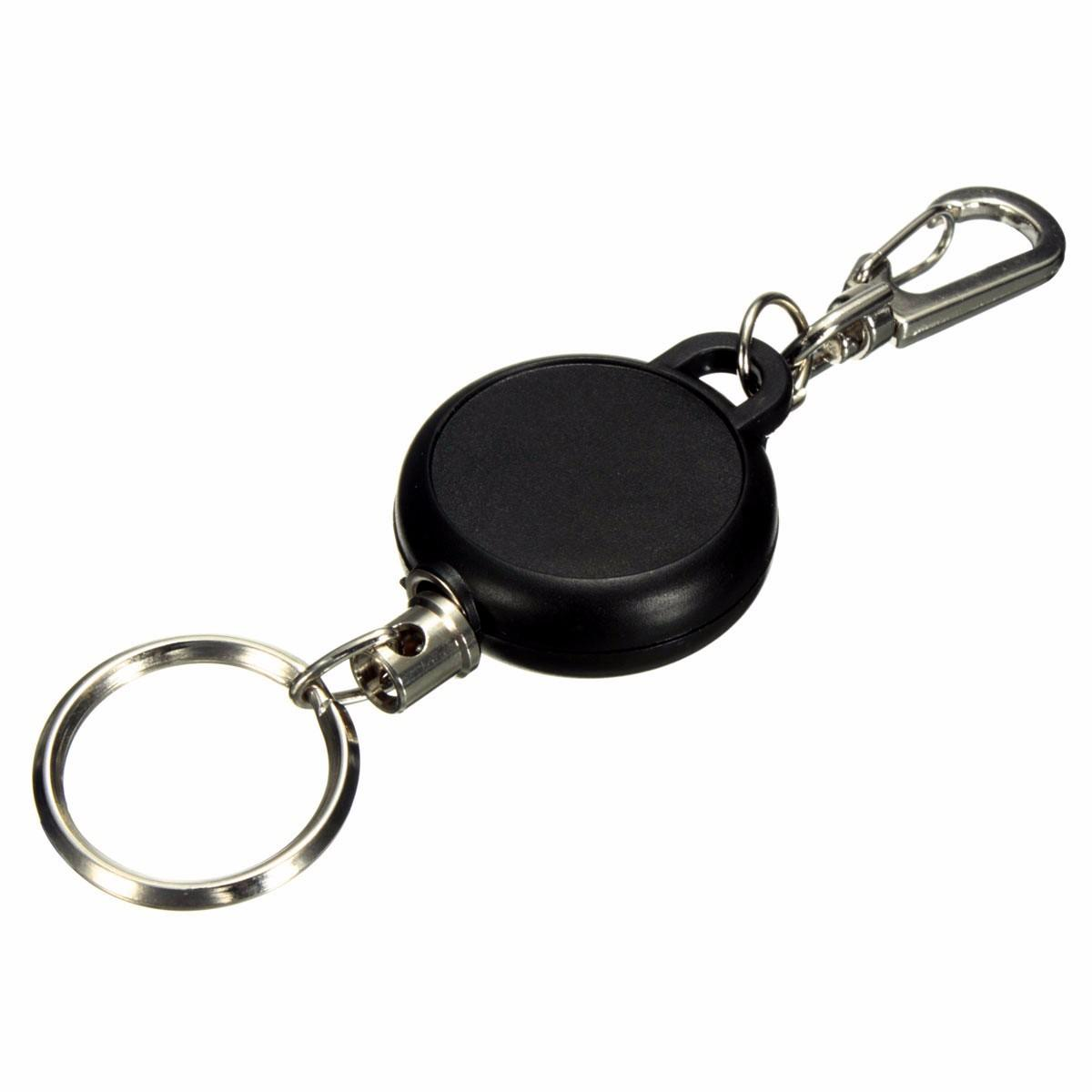 Key Chain Stainless Steel Cord Holder Keyring Reel Retractable Recoil Belt Clip Key Clip