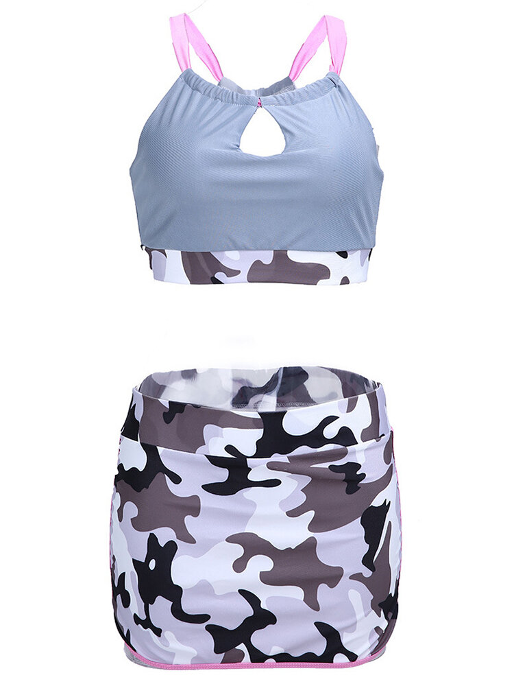 Sexy Wireless Key Hole Front Hollow Out Patchwork Skirt Sports Bra Suit Sets