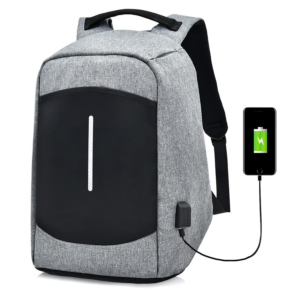 "Homens Canvas Multifunction Sport Bolsa Casual Anti Theft 17 ""Mochila com porta de carga USB"