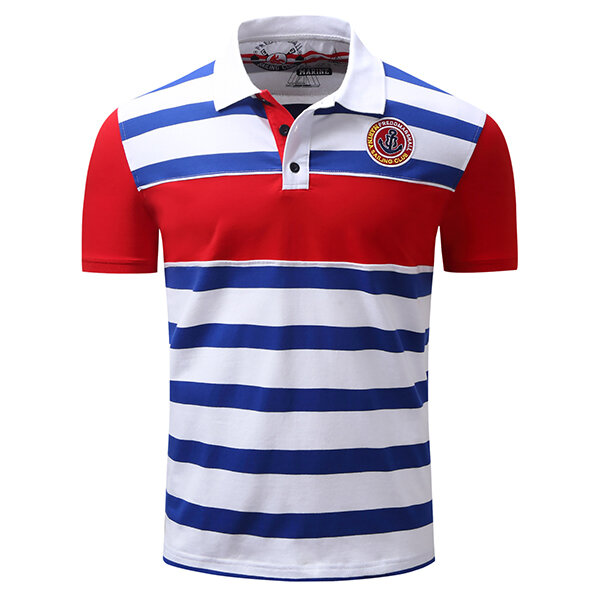 Summer Men's Turn-down Collar Golf Shirt Casual Business Striped Embroidery Printing Tops