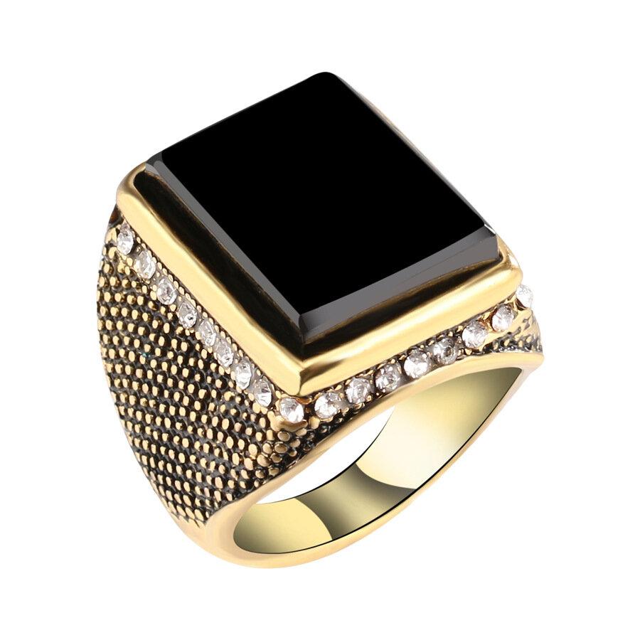 20mm Punk Hars Zwarte Kleur Geometrie Strass Oude Gouden Vinger Ring voor Heren