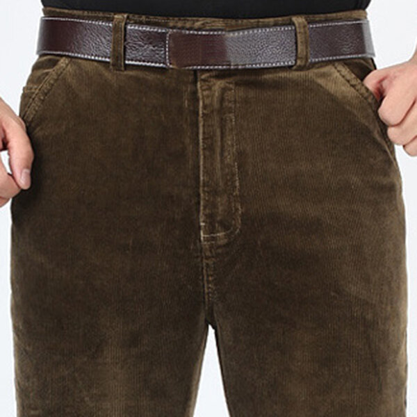 Men's Corduroy Casual Pants Fashion Pure Color Middle-aged Straight Trousers