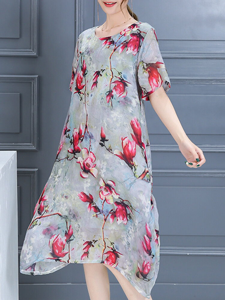 Plus Size Women Casual Dress Summer Long Maxi Robe Dresses