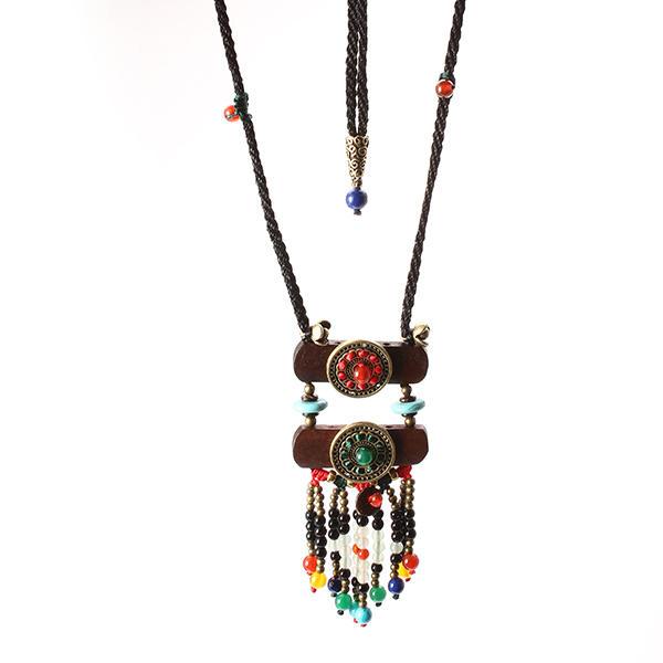 Винтаж Этнические ювелирные изделия ожерелье Wood Crystal Sweater Женское ожерелье