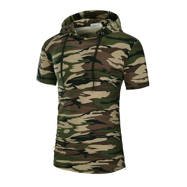 サマーメンズカジュアルロングフード付きTシャツカモフラージュスポーツショートパンツスリーブTシャツ