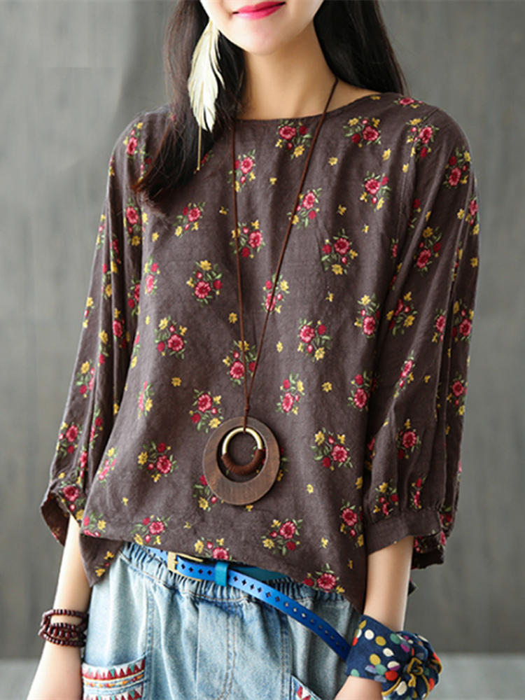 M-5XL Floral Printed 3/4 Sleeve Crew Neck Women Blouse