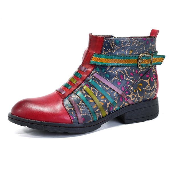 SOCOFY Women Printing Retro Splicing Stripe Pattern Flat Leather Ankle Boots