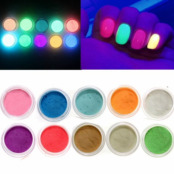 10 Colors Glow In The Dark Nail Fluorescent Tattoo Acrylic Powder Decoration