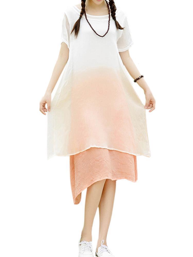 Donne eleganti breve vestito a due pezzi falso colore di pendenza