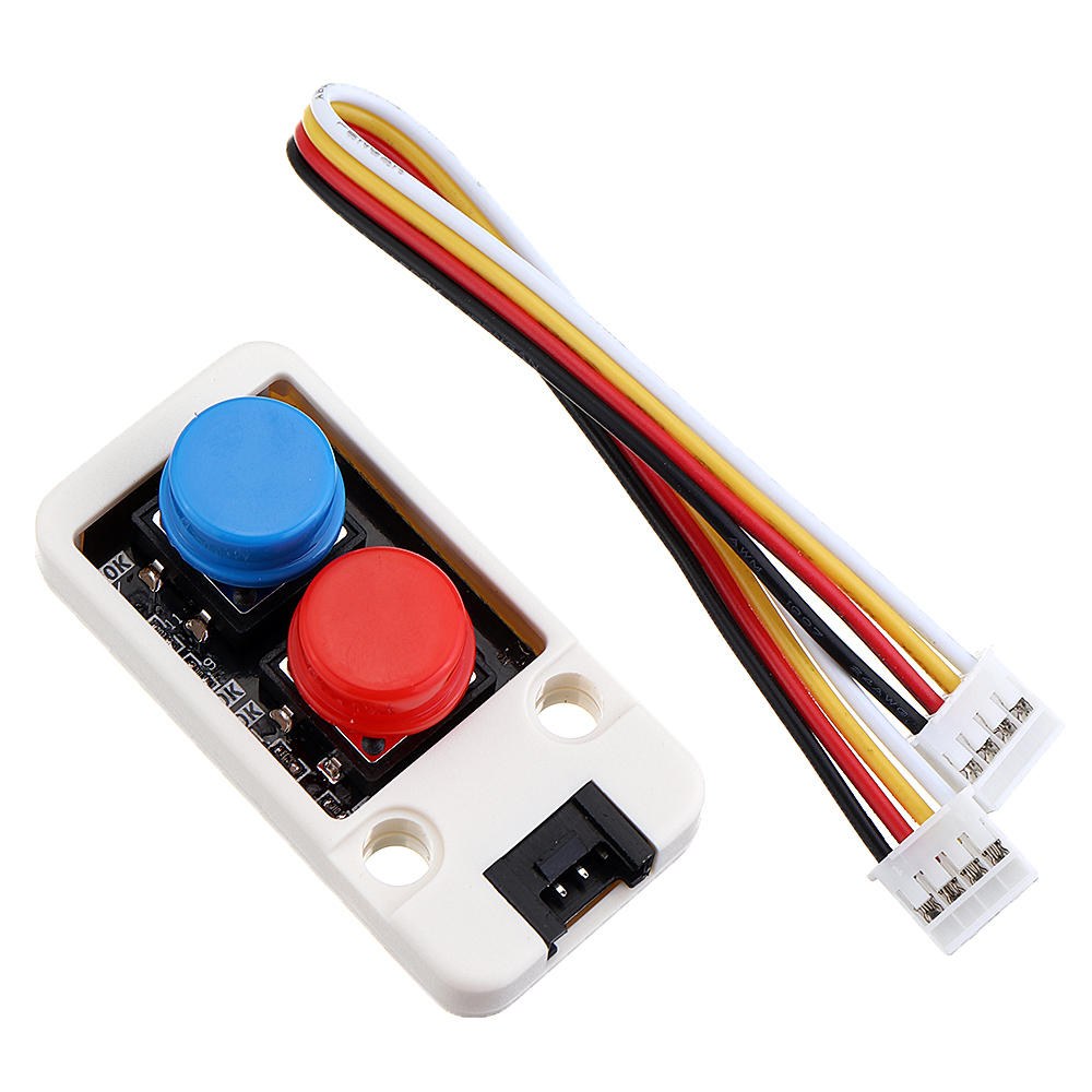 10pcs M5Stack® Mini Dual Push Button Switch Unit with GROVE Port Cable Connector Compatible with FIRE /M5GO ESP32 Micropython Kit