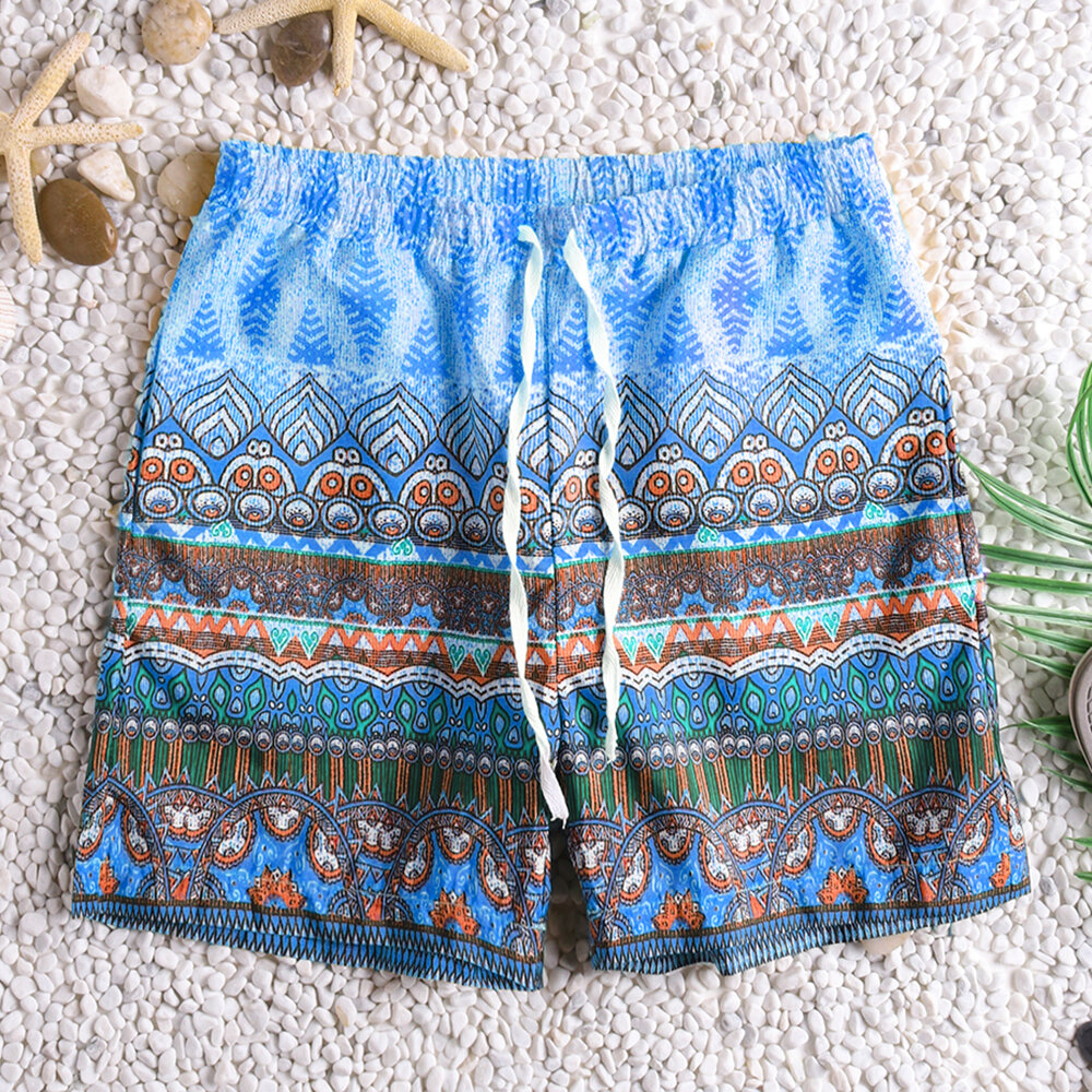 Heren Plus Maat Ethnice Printing Losse shorts Trekkoord Hawaii Surf Sunshine Sneldrogende boardshort