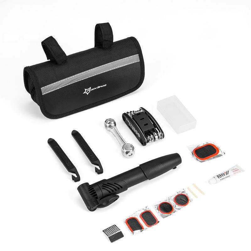 Rockbros 16 in 1 Bicycle Repair Kit Inflatable Pump Wrench Tire Repair Tool Multi-function Screwdriver Cycling Accessories