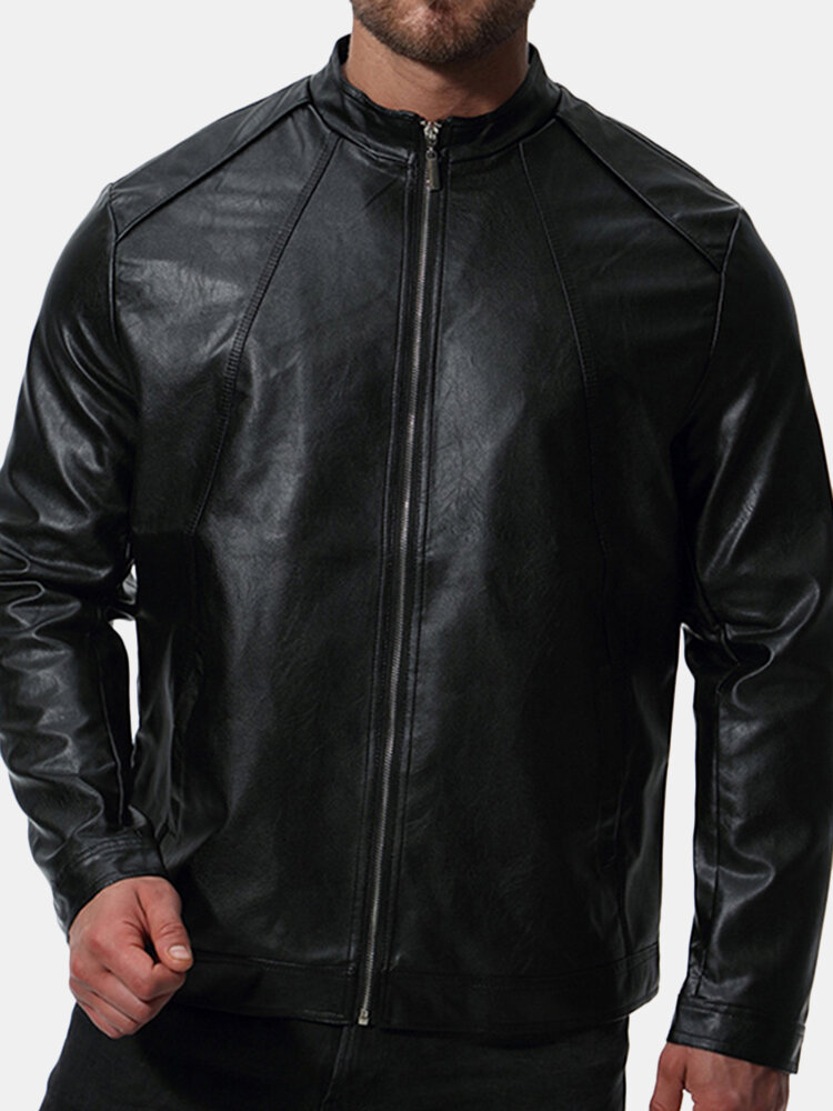 Mens Biker Stand Collar Solid Color Stylish Faux Leather Black Jacket