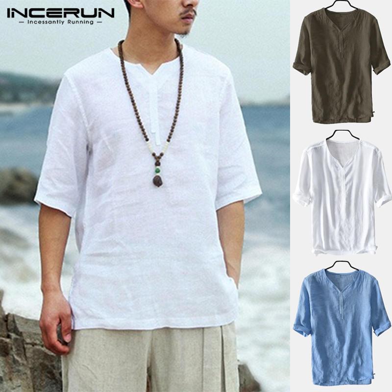 Homens de verão com decote em v linho camisetas manga curta respirável solto tops Soft Camisa