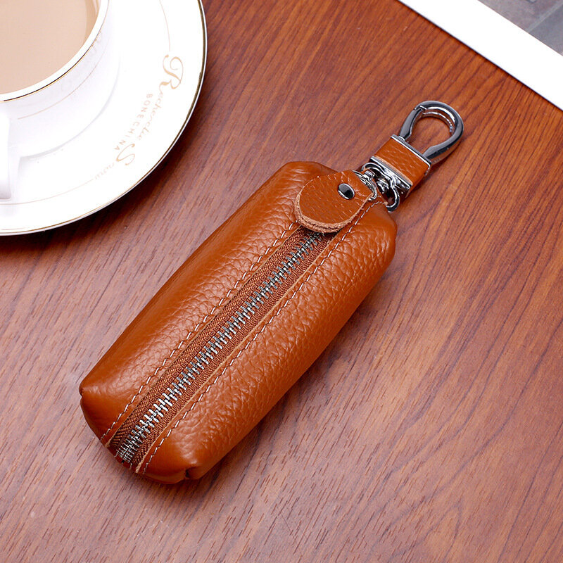 Men And Women Genuine Leather Car Key Case Holder Purse