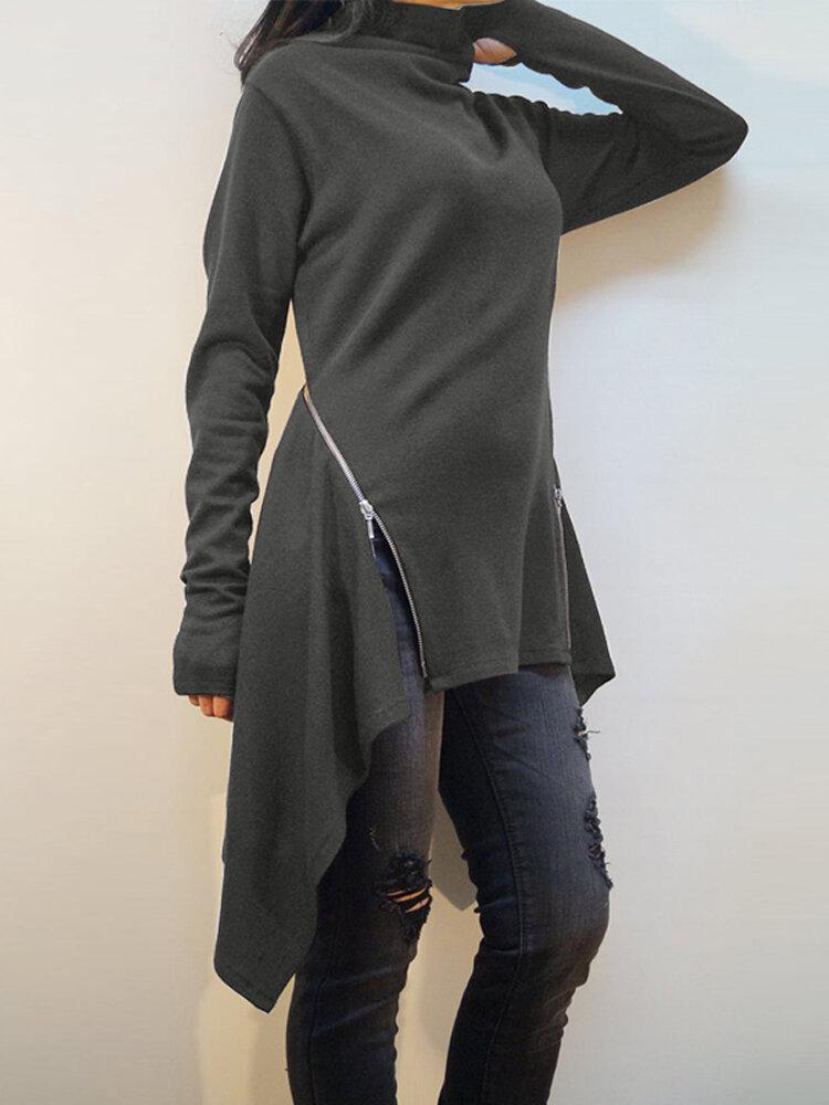 Frauen-hoher Ansatz-lange Hülsen-unregelmäßiger Reißverschluss übersteigt Hemden