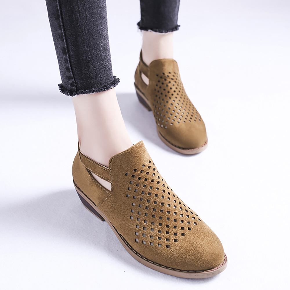 Large Size Women Casual Breathable Hollow Zipper Low Heel Ankle Boots