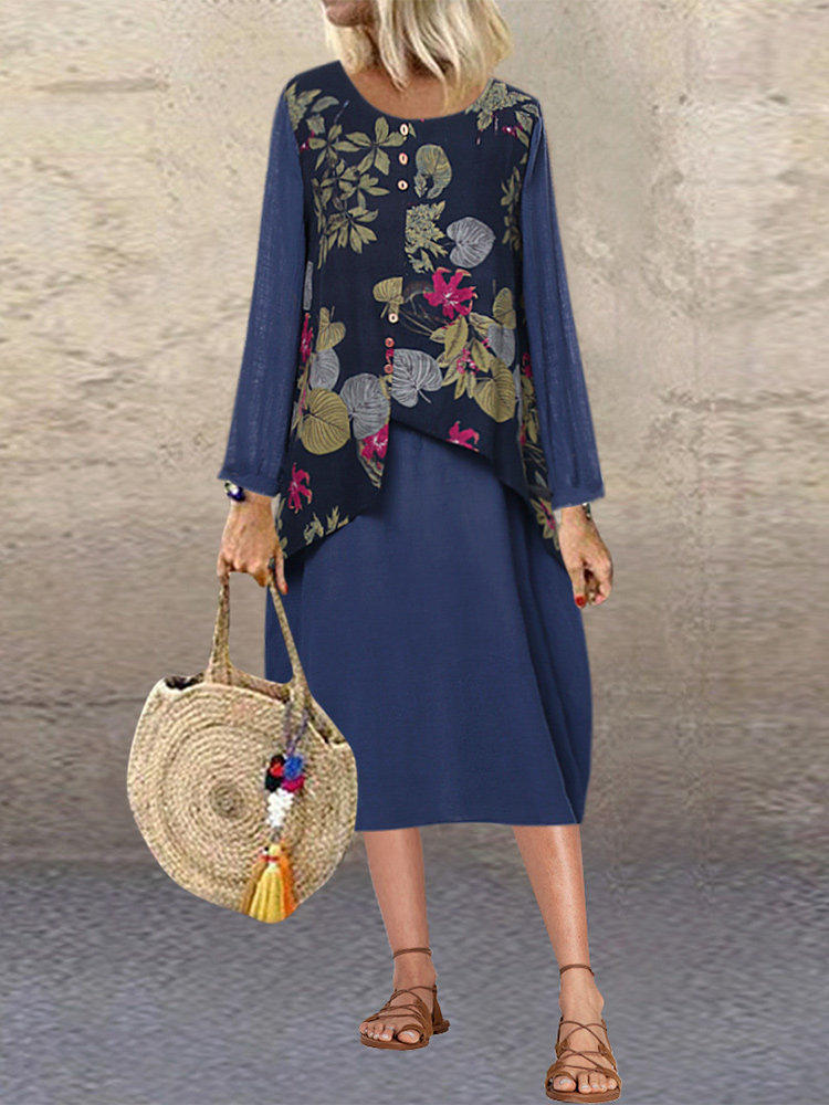 Plus Size Women Vintage Floral Print Patchwork Long Sleeve Casual Dress