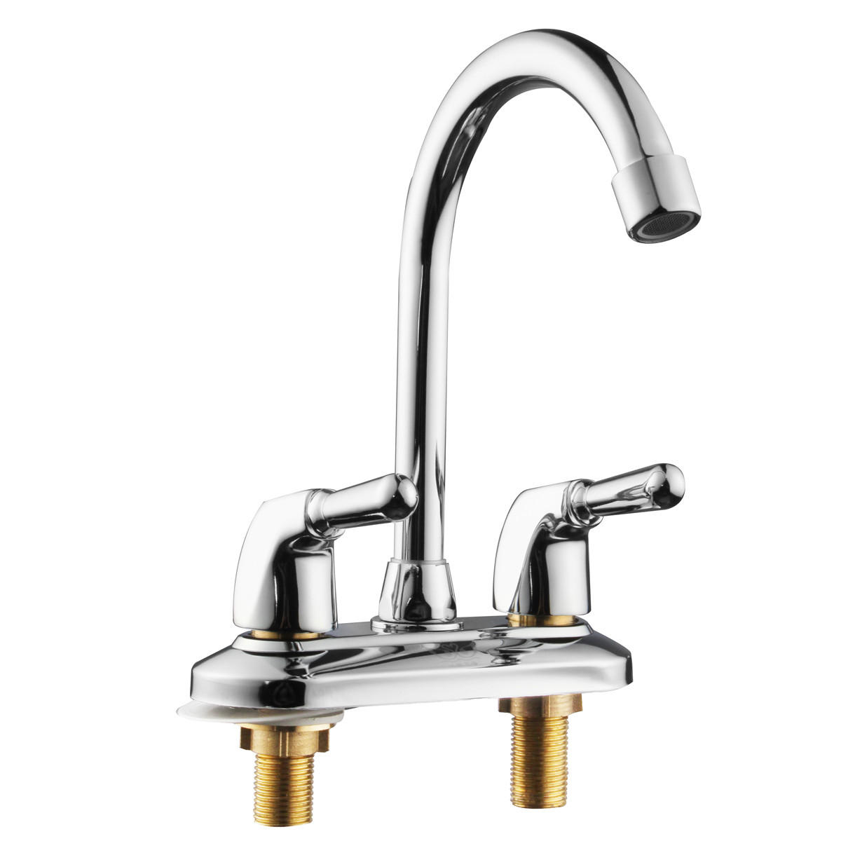 360° Rotation Kitchen Faucet Cold and Hot Water Mixer Tap Double Handle Basin Faucet Double Hole Water Faucet
