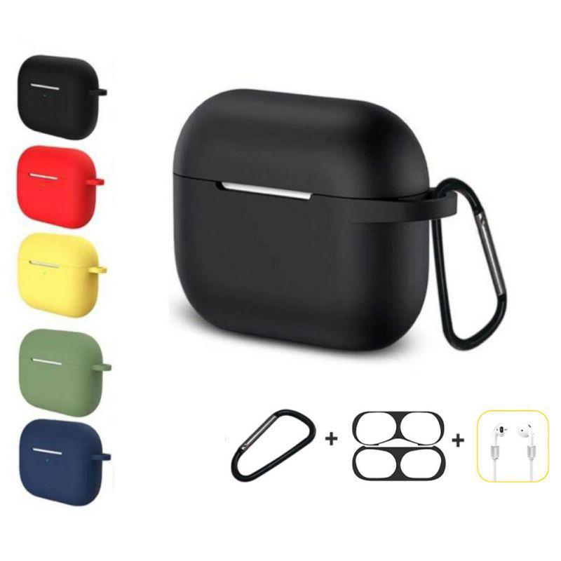 Bakeey 4 in 1 siliconen schokbestendig anti-drop oortelefoon opbergtas met sleutelhanger + anti-verloren riem + stofdichte metalen beschermfolie sticker voor Airpods Pro 2019