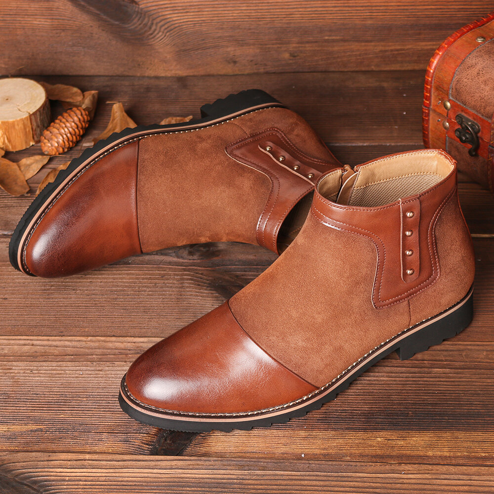 Men Spicing Leather Slip Resistant Sole Side Zipper Casual Ankle Boots