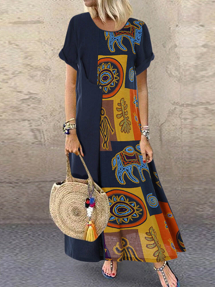 Vintage Ethnic Print Patchwork Short Sleeve Plus Size Dress