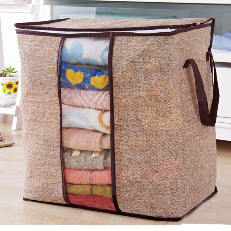 Janolia  Foldable Clothes Storage Bag Clothes Quilts Divider Organizer High Capacity Folding Bamboo Bags Bed Under Closet