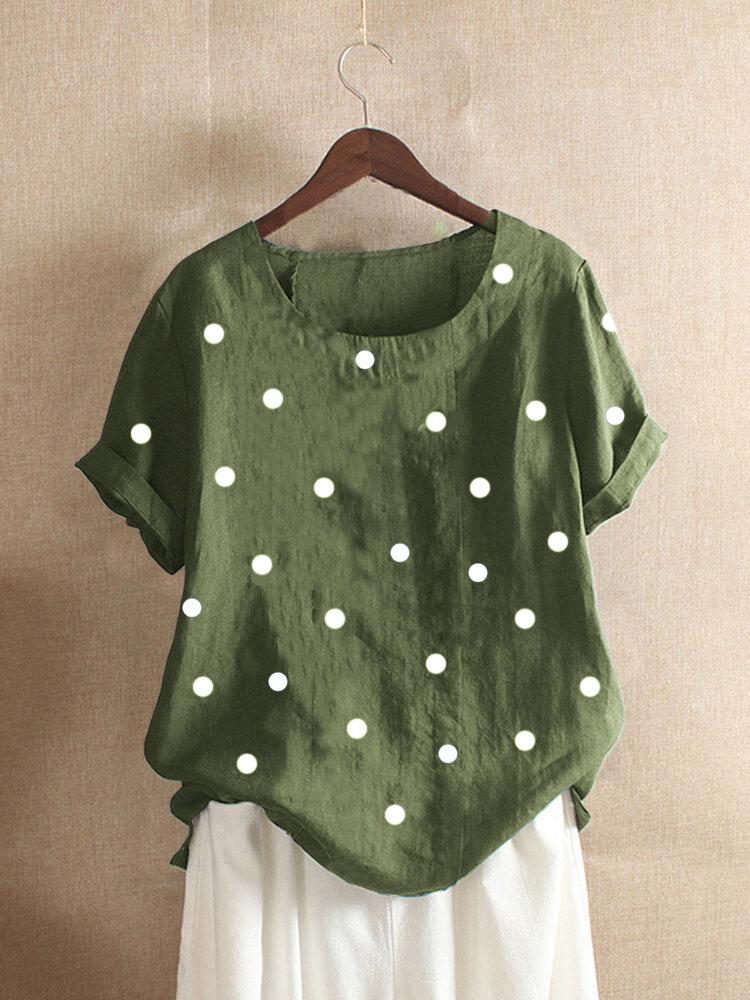 Polka Dots Print Short Sleeve Casual Summer T-Shirts