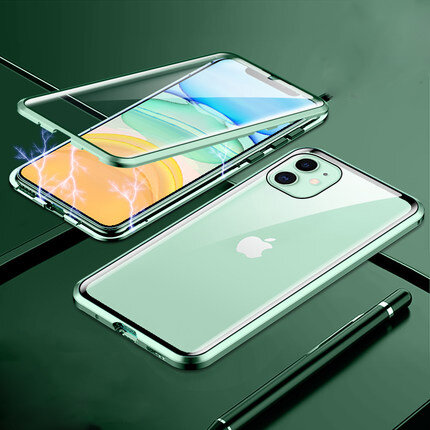 Bakeey Plating Magnetic Adsorption Metal Double-sided Tempered Glass Protective Case For iPhone 11