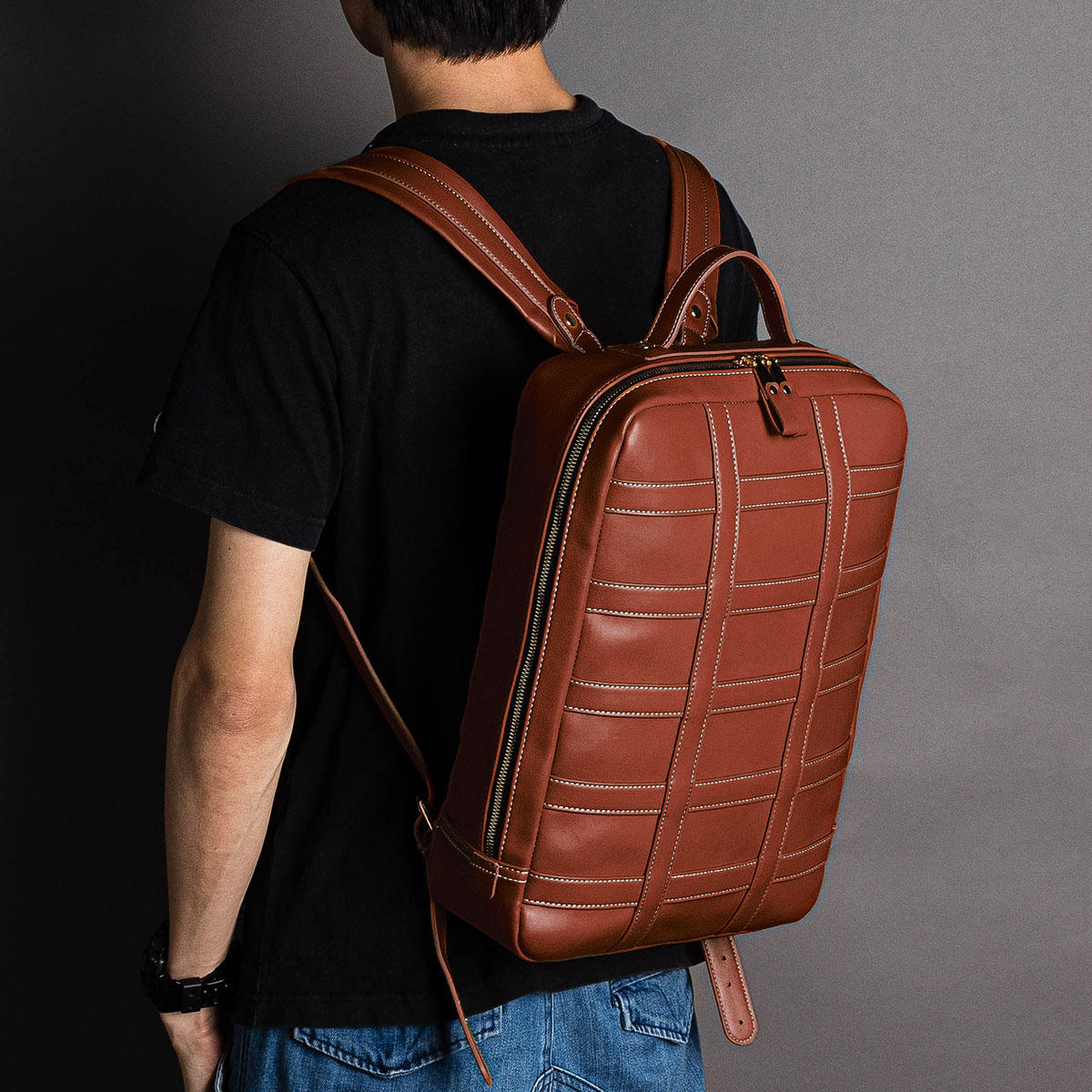 Men Large Capacity Faux Leather Business Bag Backpack