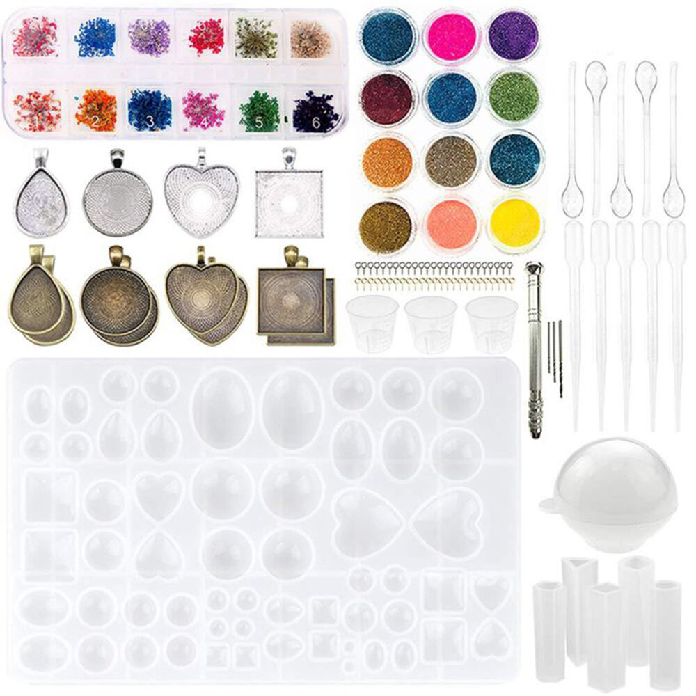 107/113Pcs/Set Crystal Epoxy Resin Silicone Pendant Casting Mould Kit Transparent Jewelry Making Mold for DIY Crafting Decor