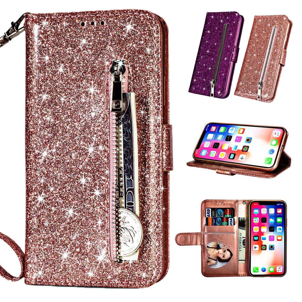 Bling Glitter Luxus Flip PU Leder Zipper Wallet Handytasche mit Multi Card Slots Stand Schutzhülle für iPhone 11 / iP XR / iP 7 / iP 8