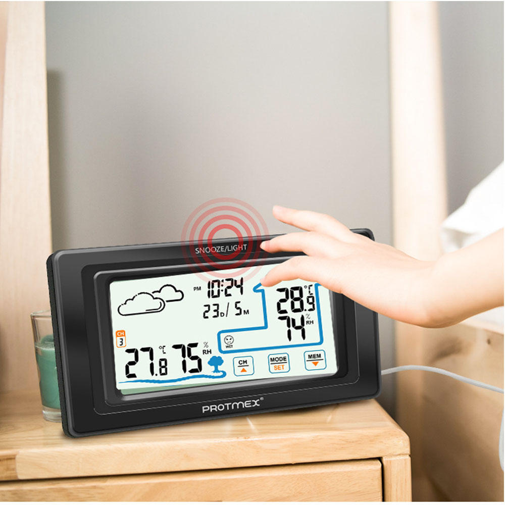 Protmex PT19A Digital Wireless Hygrometer Touch Screen Weather Station Temperature Humidity Meter Hygrometer  Touch Clock