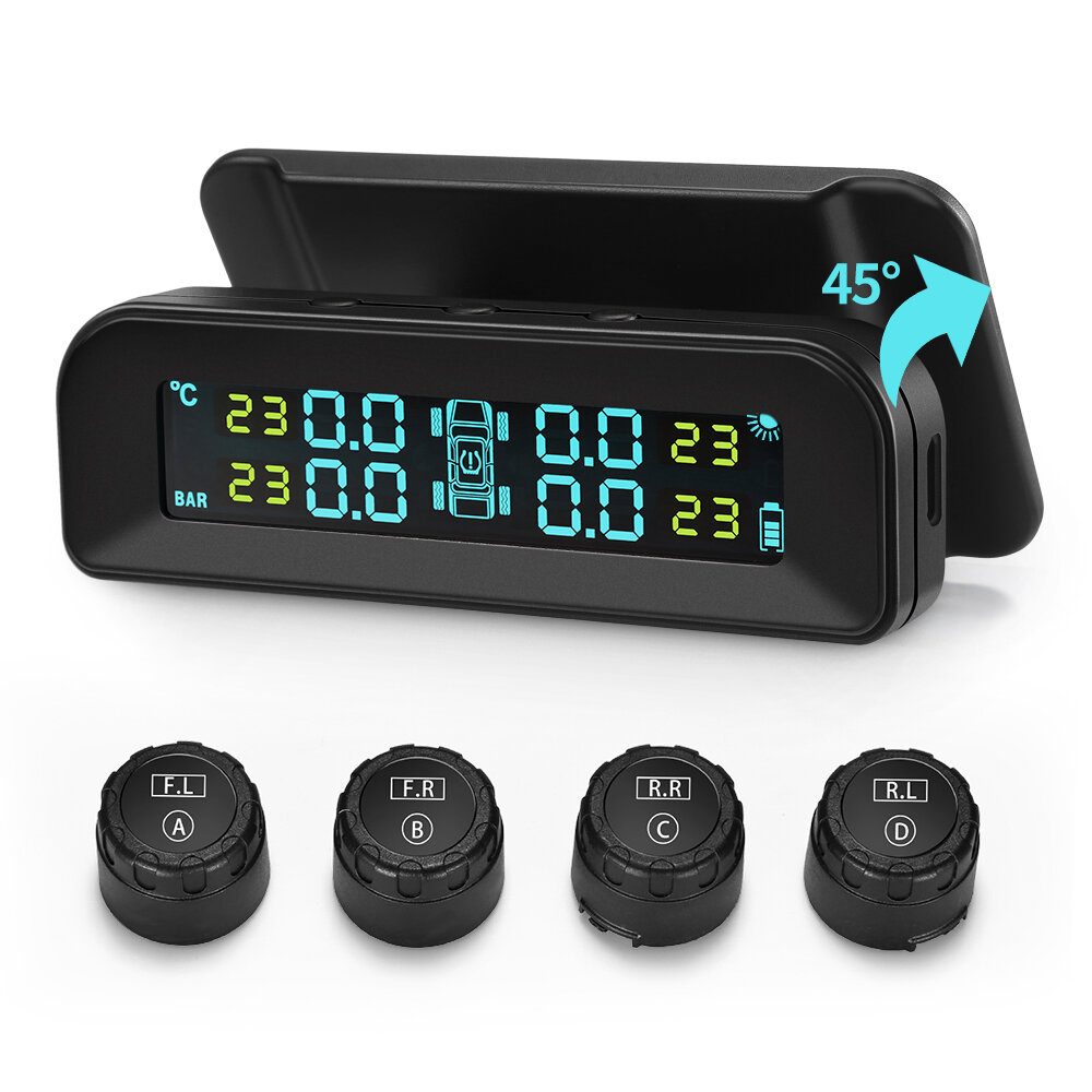 Universal C260 TPMS Solar Tire Pressure Monitor System Real-time Tester LCD Screen with 4 External Sensors Vibration Power On and  Auto Power OFF