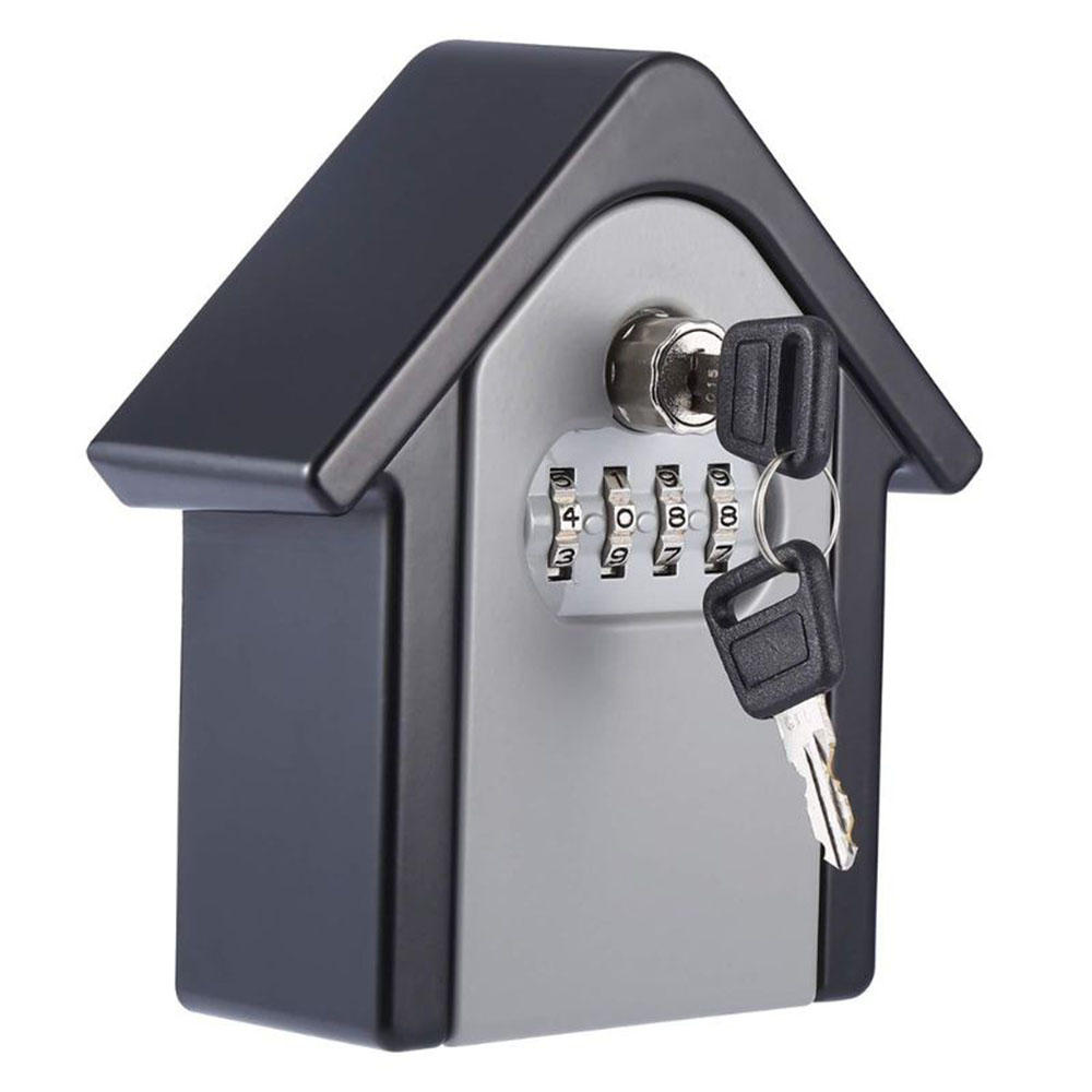 Aluminum Alloy Password Box Wall Mounted Key Lock Box 4 Digit Code Combination Key Storage Box for Realtor Construction Indoor Outdoor Room Escape
