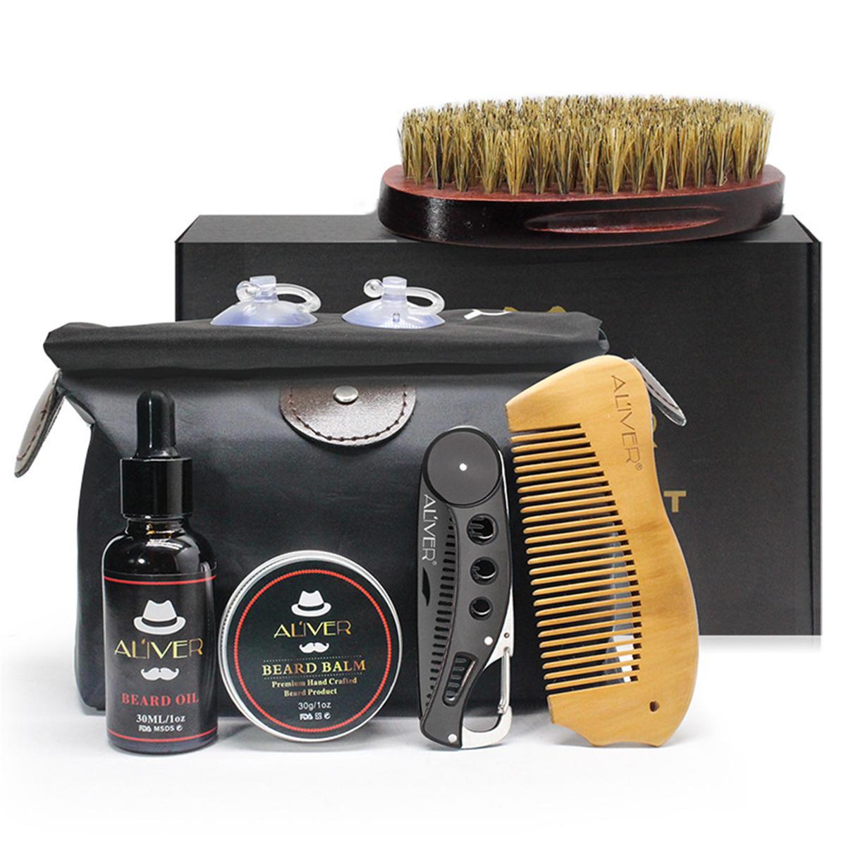 7Pcs Kit de ferramentas para cuidados com a barba Conjunto de ferramentas de limpeza para bigodes Styling Kits de limpeza Escova + Pente + creme Óleo + Bálsamo + Armazenamento Bolsa