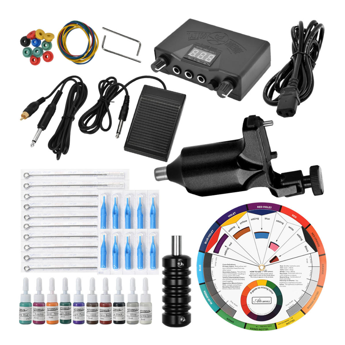 50Pcs Complete Tattoo Kit Machine Equipment Power Supply 10 Ink Colors