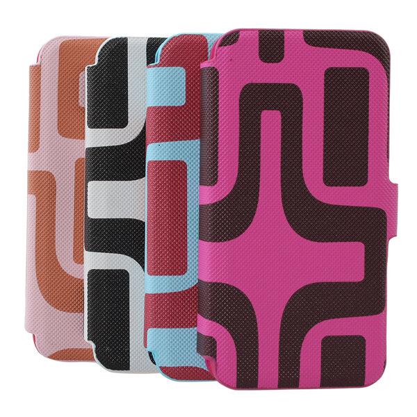 Tarjeta de crédito patrón de caso de cuero billetera laberinto para el iphone 5 5s 5c