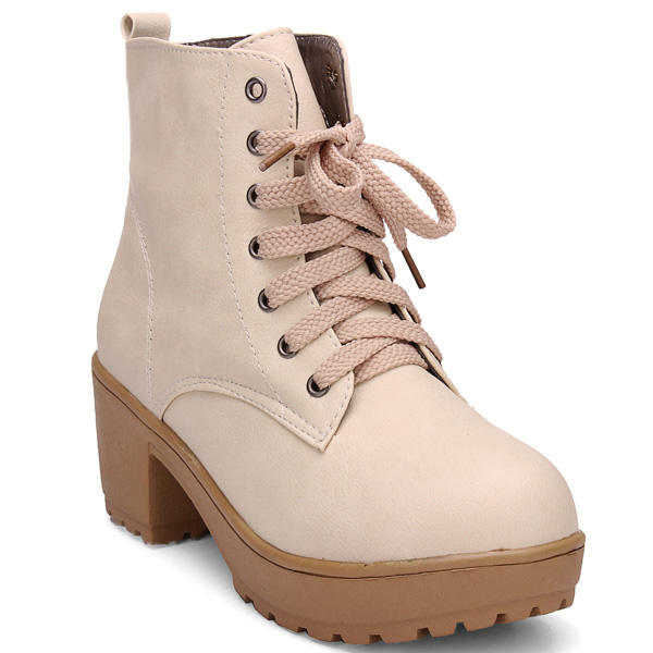 European Style Thick Heel Lace Up Wedge Women Ankle Boots