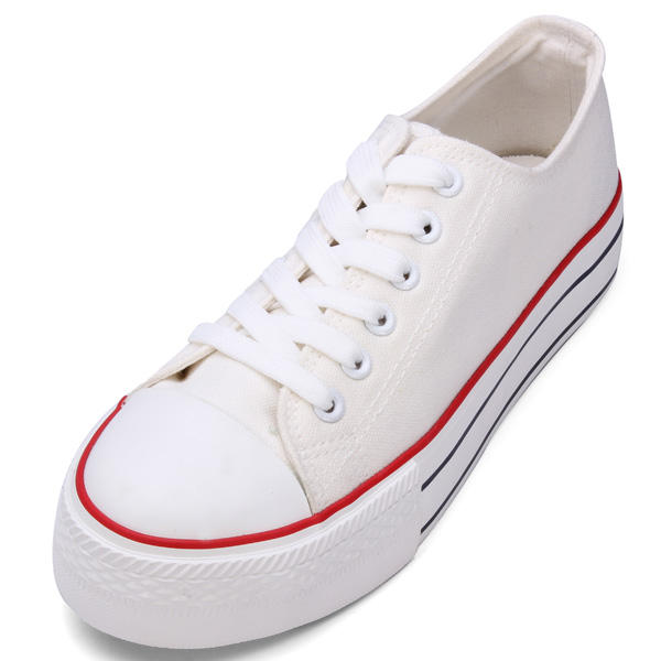 Leisure Pure Color Flat Thick Canvas Shoes Lace Up Non-slip Sneakers