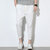 Mens Summer Cotton Linen Solid Color Casual Straight Pants