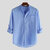 Men's Long Sleeve Shirts Collarless Blouse Top Casual Loose Button Down Shirt Top