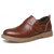 Men Hook&Loop Pure Color Business Casual Leather Oxfords