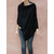 Women Solid Buttons Long Shirt Asymmetrical Loose Blouse Cloak