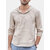 Men's Soft Breathable Linen Hooded T-Shirts Spring Autumn Striped Casual Pullovers Tops