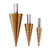 Drillpro 4pcs 4-12/20/32mm HSS Titanium Step Cone Drill Bit with Automatic Center Pin Punch