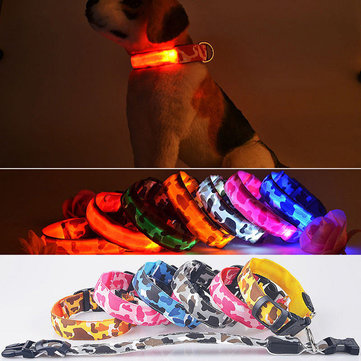 M Pet Dog LED Collar Nylon Safety Light-up Flashing Collar